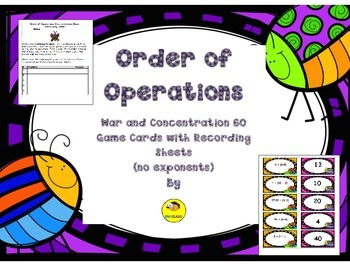 Order of Operations Game Cards