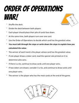Order of Operations War - no exponents