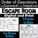 Order of Operations Without Exponents or Negative Numbers Game: Escape Room Math