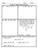 Order of Operations Practice PLUS Spiral Review