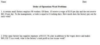Order of Operations Word Problems
