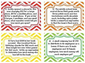 Order of Operations Word Problems Task Cards & MORE