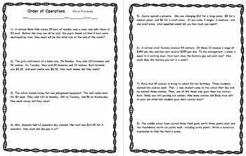 Order of Operations Word Problems Practice Homework Worksheet