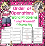Order of Operations Word Problems Worksheet and Answer KEY