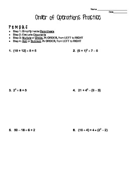 Order of Operations Practice Worksheet by Mrs J's Math Corner | TpT