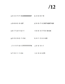 Order of Operations Worksheet (12 points)