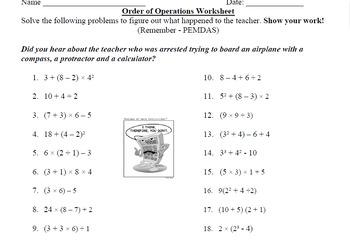 Order of Operations Worksheet