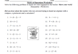 Order of Operations Worksheet