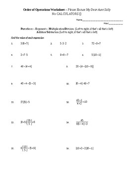 Order of Operations Worksheet (Includes Parentheses and Exponents)