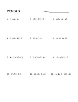 Order of Operations Worksheet - 5th Grade by Mrs R 4th | TpT