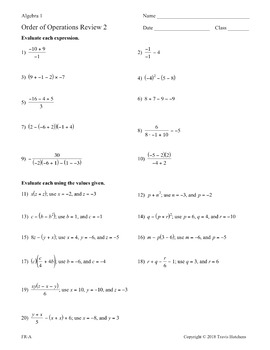 Order of Operations - Worksheet Collection