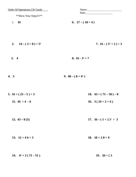 Order of Operations Worksheet Practice Math