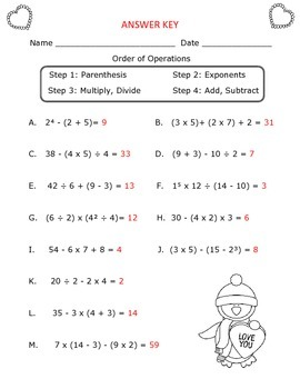 Order of Operations Worksheet : Valentine's Day Theme