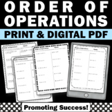 Order of Operations Worksheets 5th Grade Math Review Digital Activities