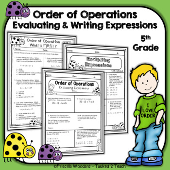 Order Of Operations Worksheets Evaluating And Writing Expressions