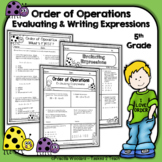 Order of Operations Worksheets  - Evaluating and Writing Expressions (5.OA.1)