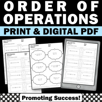 Order of Operations Worksheets, 5th Grade Math Review, 6th