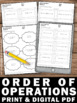 Order of Operations Review Worksheets 5th 6th Grade Common Core