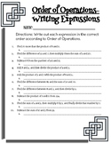 Order of Operations-  Writing Expressions Practice Sheet