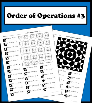 Order of Operations (advanced) Color Worksheet #3 by Aric Thomas
