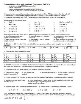 Order of Operations and Algebraic Expressions Fall 2010 (Editable)