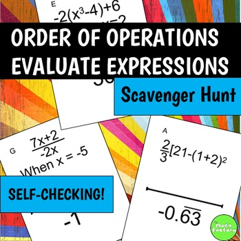 Order of Operations Evaluate Expressions Scavenger Hunt