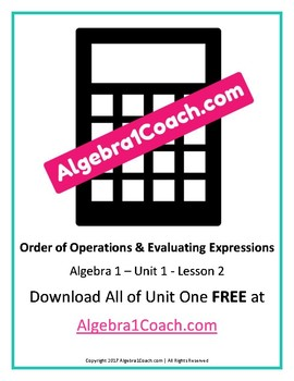 Order of Operations and Evaluating Expressions