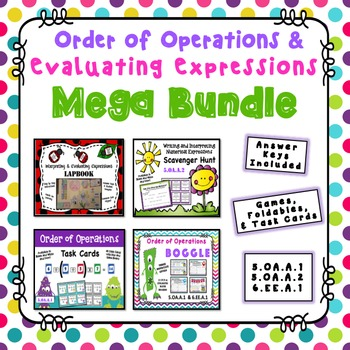 Order of Operations and Evaluating Expressions Mega Bundle