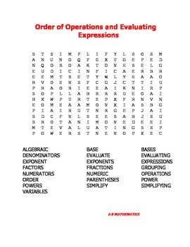 Order of Operations and Evaluating Expressions Word Search