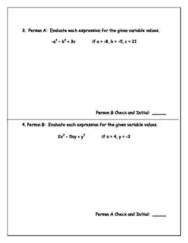 Order of Operations and Evaluating Variable Expressions Pairs Check