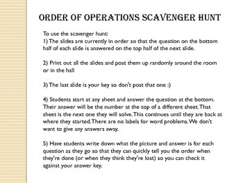 Order of Operations and Expressions Scavenger Hunt