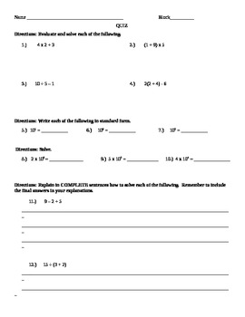 Order of Operations and Powers of Ten Quiz