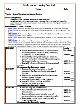 Order of Operations and Rational Numbers' Learning Goals
