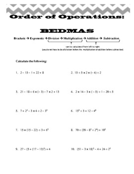 Order of Operations and Solving Equations Worksheets