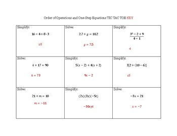 Order of Operations and Solving One Step Equations TIC TAC TOE review game