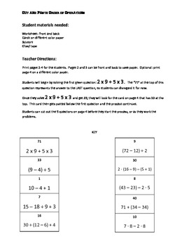 Order of Operations cut and paste