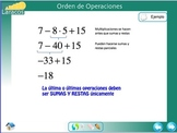 Order of Operations for ESL (spanish version)