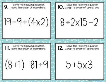 Order of Operations {for Intermediates} Task Cards