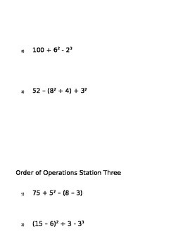 Order of Operations- group stations