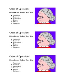 Order of Operations handy cheat sheet