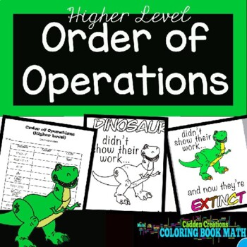 Order of Operations (higher level) Coloring Book Math with