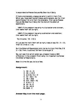 Order of Operations in Pre-algebra and Algebra