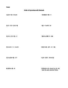 Order of Operations involving decimals