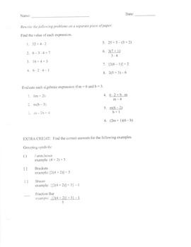Order of Operations review sheet