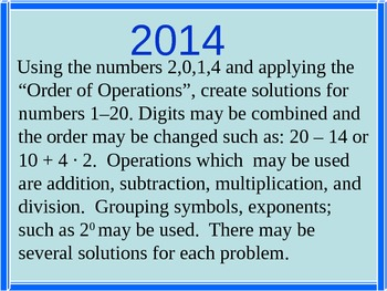 """""""Order of Operations"""" using 2014: Fun Back to School activity with handouts."""