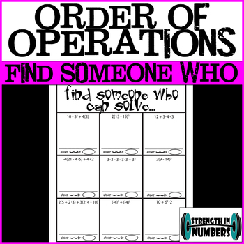 Order of Operations w/ Integers Find Someone Who Cooperative Activity