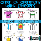 Order of Operations w/ Integers T-Shirt Coloring Activity