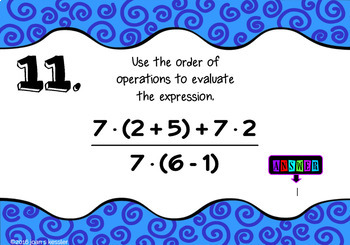 Order of Operations with BOOM Cards Digital 1:1 Algebra