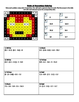 Order of Operations with Decimals Coloring