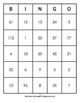 Order of Operations with Exponents Bingo